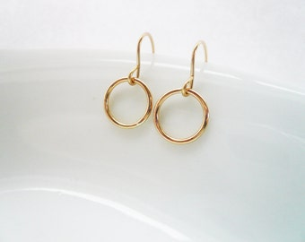 Tiny Gold Circle Earrings in Gold Filled