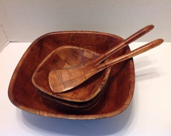 Retro Formosa Square Shaped Salad Bowl Set  Wood salad Bowl Set - 7 Piece Salad Bowl Set