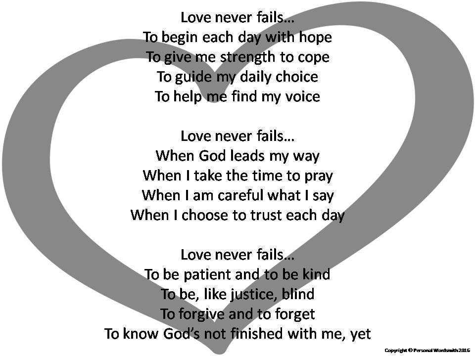 Wedding Reading Love Is Patient: Love Never Fails Poetry For Wedding Love Poem Digital