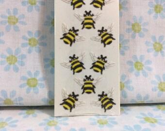 Vintage Single Sheet Sandylion Fuzzy Bees Stickers 1990s Retired Design Flocked Soft