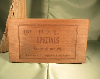 ANTIQUE W.N.Y.Cigar Box,American made antique cigar box from Pennsylvania,Specials 10 cent Exceptional filtered cigar antique wood cigar box
