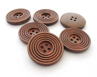 Bouton de bois café de 3cm - ensemble de 6 boutons en bois naturel avec cercles