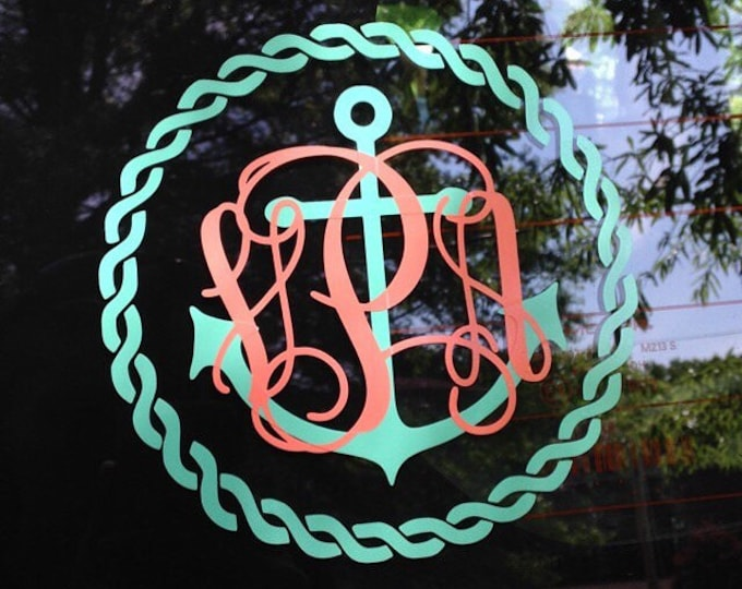 Anchor Rope Monogram Decal Car Decal Vinyl Decal Nautical Anchor Rope Border Monogram Vine Monogram Personalized Decal Preppy Car Gift