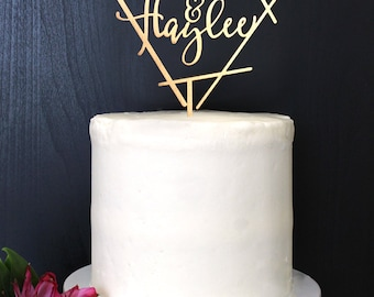 Personalized Simple Geometric Wedding Cake Topper | Custom Name