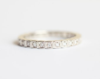 Diamond Wedding Band, Diamond Eternity Ring, Full Diamond Ring, Pave Diamond Ring, Micro Pave Diamond Band