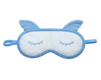 Angel Sleep Mask, Blue face eye mask pillow, Kawaii blindfold, Pajama party favor gift for her, Blue heaven sleeping eyemask, Silk or cotton