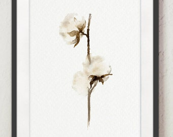 Cotton Art Print Shabby Chic Wall Decor, Natural White Cotton Bolls Rustic Wedding Gift Idea, Cottage House Decor Large Watercolor Painting
