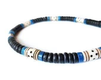 Men's necklace in natural turquoise and wood - Blue Morocco.
