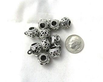 10 Antique Silver Open Heart Euro Bail Beads (B373d)
