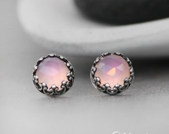 Pink Stud Earrings, Pink Chalcedony Stud Earrings, Filigree Silver Stud Earrings, Gemstone Earrings, Stud Earrings for Women, Rose Cut, 6mm