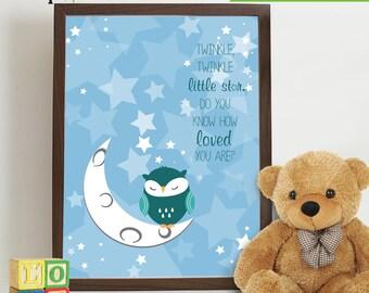 Owl Print, Twinkle little star, Owl art, owls, Owl Nursery, Owl family, Nursery Print, Item 034