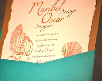 Turquoise, Coral Beach Theme Wedding Invitation
