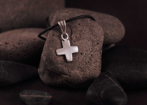 Silver Cross Necklace Plus Sign Necklace Sterling Cross