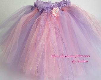 very pretty small lavender and pink tulle skirt/petticoat
