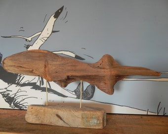 Sculpture/big fish in Driftwood base