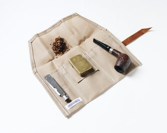 Waxed Canvas Pipe Roll, Travel Tobacco Roll, Camping Waxed Canvas and Leather Roll