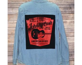 Johnny Cash Denim Button Up Shirt