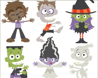 Halloween Clipart Monsters -Personal and Limited Commercial Use- Witch, Mummy, Zombie, Frankenstein, Werewolf Clip Art
