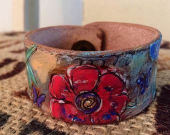 Floral Fantasy- Hand Painted Floral Cuff