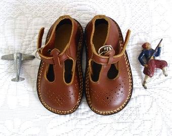 RESERVED   1950s French Antique Leather Boys Salomé - Child's Salomé - Chestnut Color - Romantic  Shoes - French children Shoes