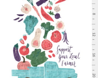 Tea towel Vegetable illustration, Fresh from Farm Tea Towel, Home Essentials, Gift under 15, House Warming, Mother's Day Gift