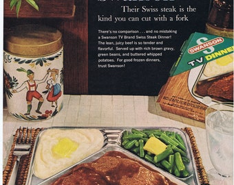 Swanson's TV Dinner.Life magazine.original.page.ad.1959 home deco,sweetie.kitchen vintage.birthday gift.hungry man.hangry.old school.retro