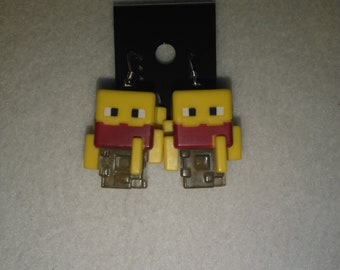 Minecraft - Blaze Mini Figure & Sterling Silver Shepherds Hooks with Loop earrings - 16mm