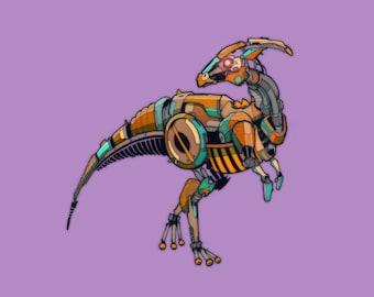 Hadrosaur Robosaur art print 8x10