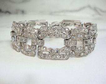 Antique Art Deco Bracelet, Original 1920 Vintage Rhinestone Cuff, Fine Art Deco Wedding Jewelry, Art Deco Rhinestone