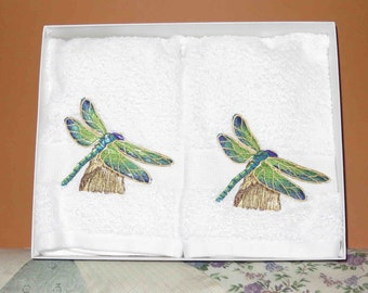 Embroidered Dragonfly guest/accent towels. Set of 2.