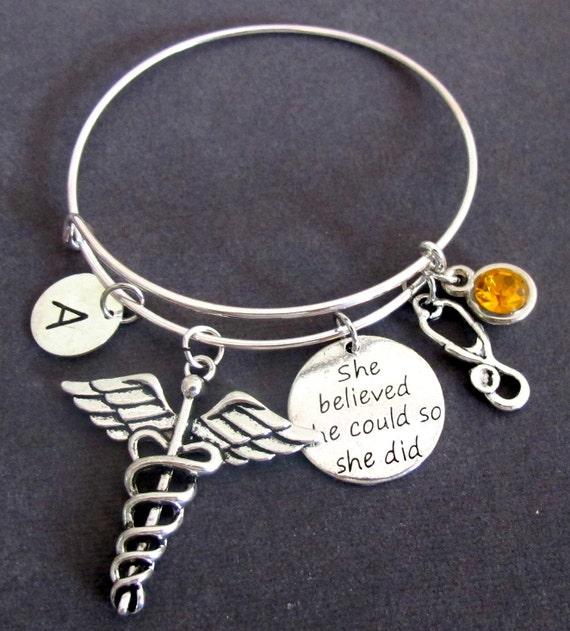 Medical Caduceus Bracelet, Stethoscope Bangle Bracelet, She believed She Could Encouragement Jewelry,Medical symbol bangle,Free Shipping USA