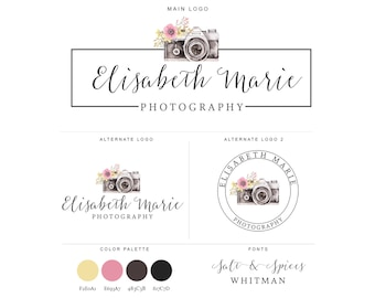 Mini Branding Package, Photography Logo and Watermark, Watercolor Floral Camera Premade Marketing Kit bp12