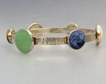 Mid Century Sterling Silver Bangle Bracelet Multi Gemstone Bracelet
