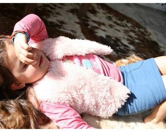 furry sleeveless vest pink
