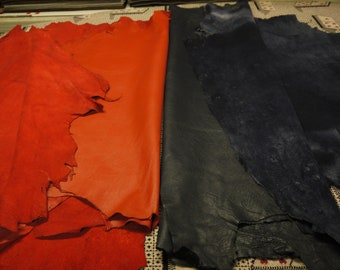 Lambskin 4 Leather Hides Italian Quality Navy and Red/Orange