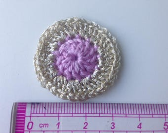 Pink and gold champagne rosette flower crochet