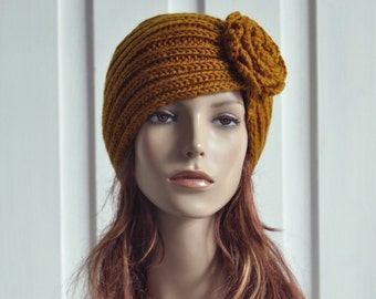 Hand Knit Hat - Wool  Beret Hat with crochet flower in Mustard yellow - ready to ship