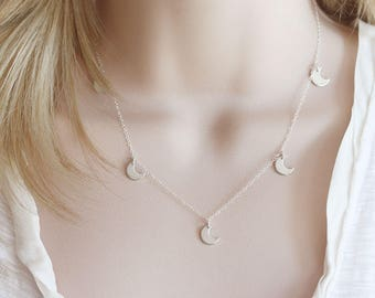 Moon Choker Necklace Crescent Moon Necklace Five Moons Necklace Many Moons Necklace