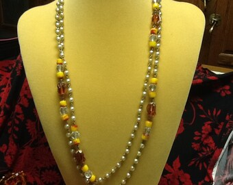Vintage Long pearl and bead necklace