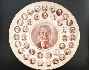 """Vintage Jimmy Carter 39th President of the United States (1977-1981) Large 10 1/2"""" Collector's Plate, Presidents Portraits, Collectible"""