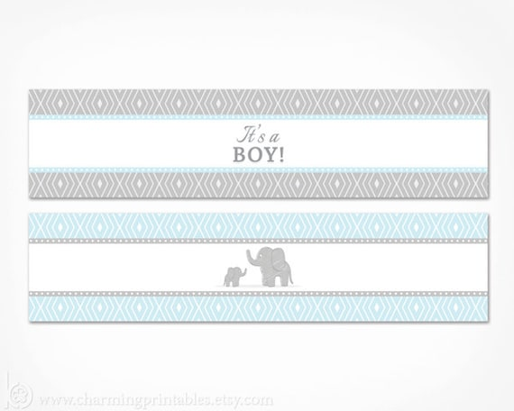 Blue Elephant Water Bottle Labels Printable Its A Boy Baby - Free water bottle label template