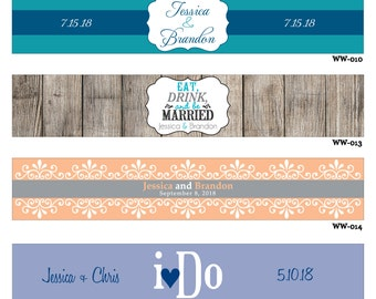 25 Custom Glossy Waterproof Wedding Water Bottle stickers - hundreds of designs to choose from - change designs to any color, wording, etc
