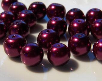 10mm Magenta Glass Pearls, 20 PC