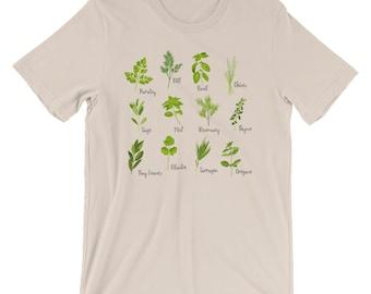 Herb Short Sleeve TShirt, Garden Shirt, Soft Style Tee, Vegetable Shirt, Vegan Shirt, Vegan Tshirt, Hippie Clothes, Boho Clothing, Festival