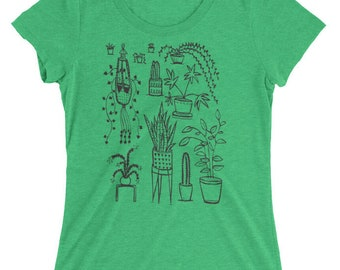 Houseplant - Women's FITTED Tri Blend - S, M, L, XL, 2X- Plants, home, cacti, cactus, jungle