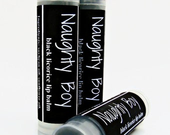 Naughty Boy Lip Balm, Black Licorice Lip Balm, Boyfriend Stocking Stuffer, Adult Humor, Naughty Gift, Gag Gift, Funny Gift for Him,