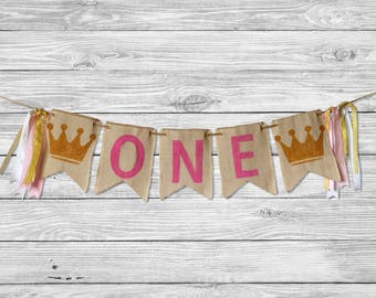 Pink and Gold Princess Birthday Banner - Girls 1st Birthday Party - First Birthday Ideas - Crown Burlap Bunting - Photo Prop Cake Smash