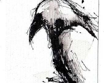 Mini ink painting on canvas 3,5x2,5in art card - abstract bird spread wings sketch -crow art