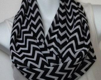 Black and whit chevron chiffon infinity scarf