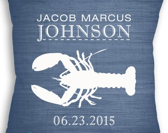 Lobster Custom Pillow - Nautical Nursery - Birth Announcement - Baby Boy Nursery - Under the Sea - Ocean Nursery - Newborn Gift